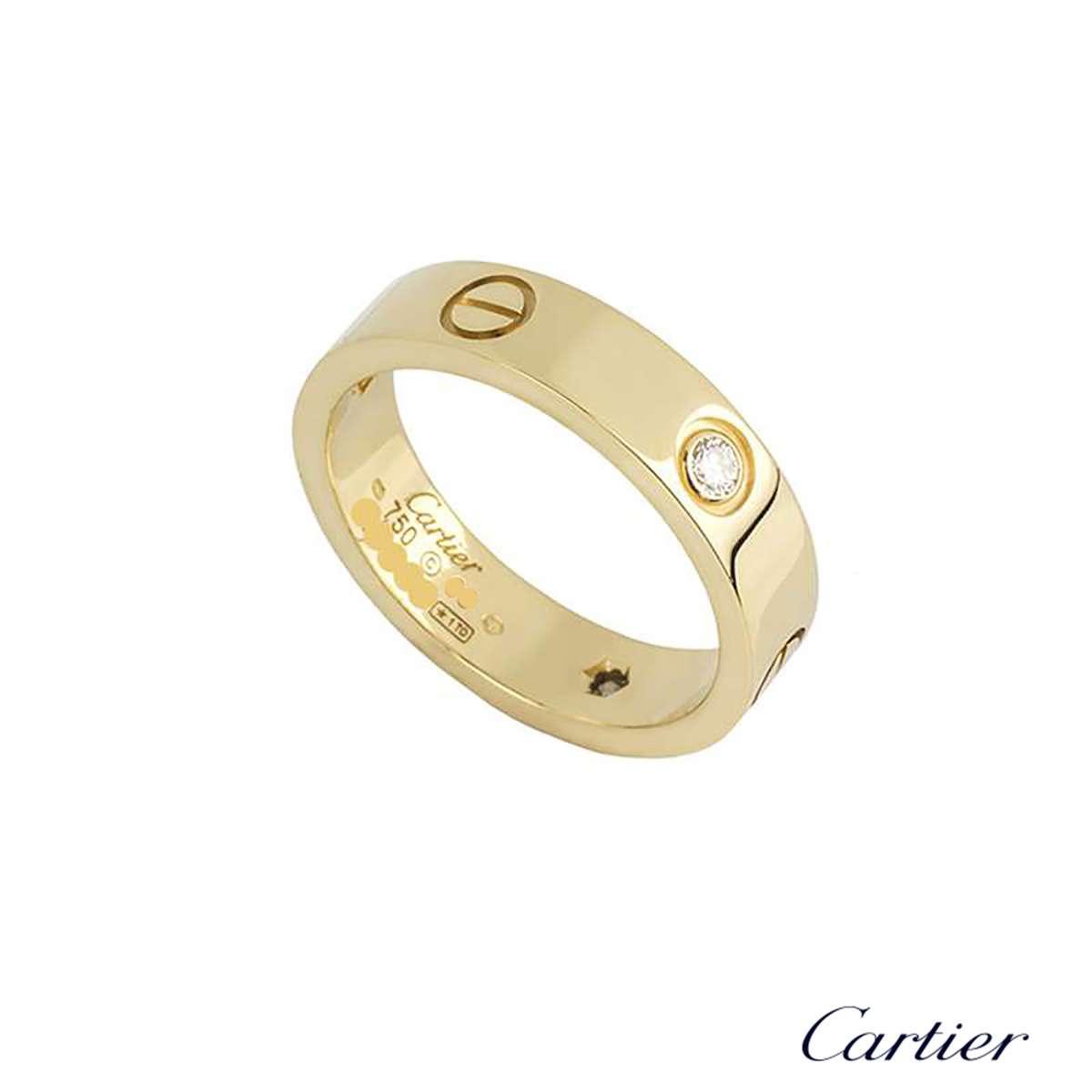 Cartier Yellow Gold Half Diamond Love Ring Size 52B4032452